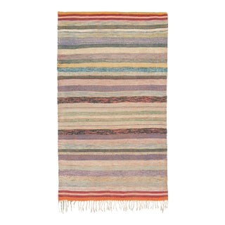 Mid 20th Century Moroccan Rag Rug - 4′2″ × 7′8″ For Sale