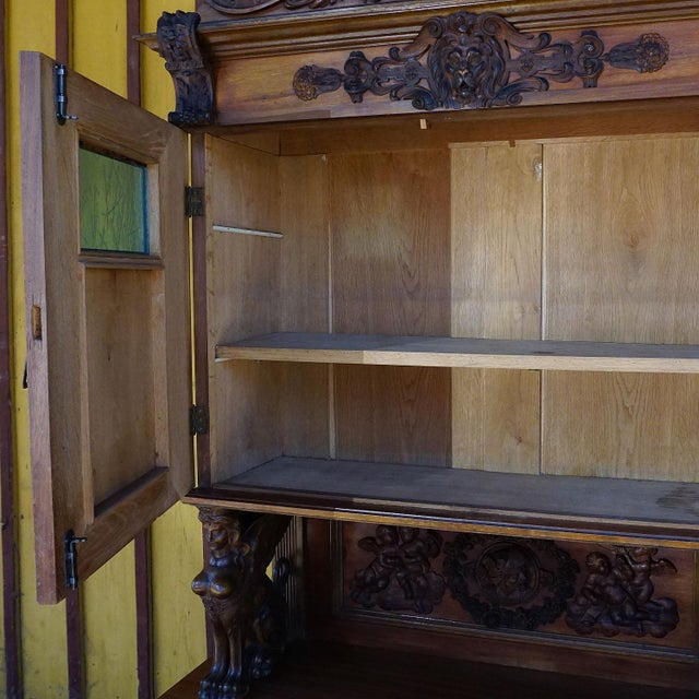 Late 20th Century Antique Wooden Carved Cupboard With Several Carvings For Sale - Image 5 of 13