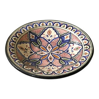Vintage Moroccan Painted Clay Shallow Bowl - Signed For Sale