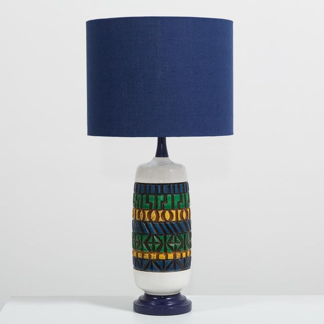 Aztec Style Ceramic Lamp 1970s For Sale - Image 4 of 4