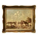 Image of Original Vintage C.1900 Impressionist Oil Painting European Village Scene Signed For Sale