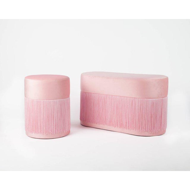 Textile New Pouf Pill Purple in Velvet Upholstery With Fringes by Houtique For Sale - Image 7 of 12