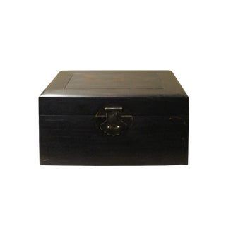 Chinese Dark Brown Wood Rectangular Storage Jewelry Box Chest For Sale