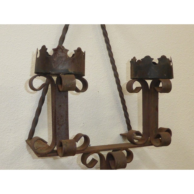 Pair of Vintage Rustic Spanish Style Wrought Iron Wall ... on Wrought Iron Outdoor Candle Sconces id=87912