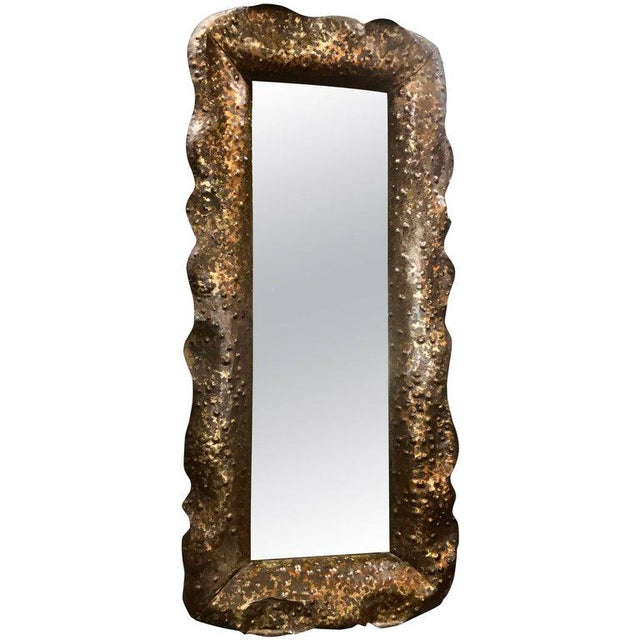 Stunning Vintage Hammered Mirror by Bragalin in Sculpted Bronze For Sale - Image 10 of 10