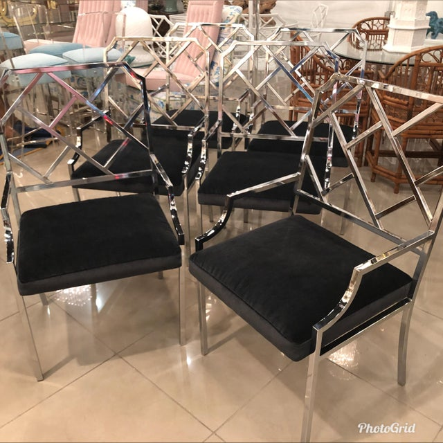 Metal Milo Baughman Dia Design Institute of America Chrome Arm Dining Chairs -Set of 8 For Sale - Image 7 of 11