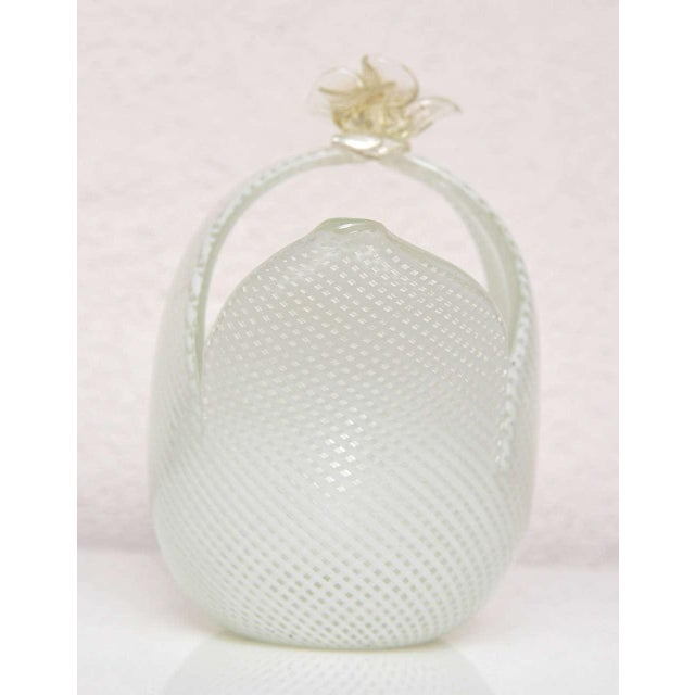 Hand blown Dino Martens Murano floral form basket. White and clear ribbon/diamond pattern, clear flower with gold...