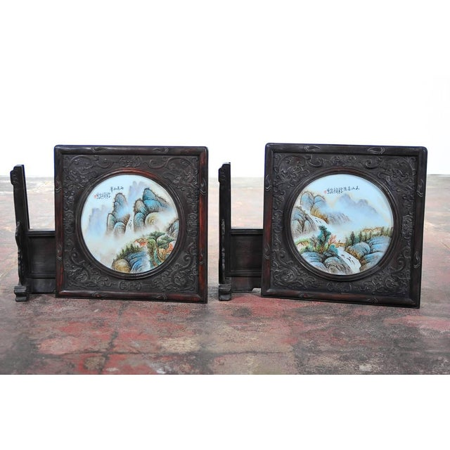 Pair of Chinese Large Circular Porcelain Hand Painted Panels For Sale - Image 9 of 9