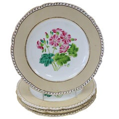 Antique Hand-Painted Floral Plates - Set of 4 For Sale