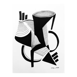 "Modern Original Pen & Ink Drawing, ""Ode to Gershwin"" by Christy Almond For Sale"