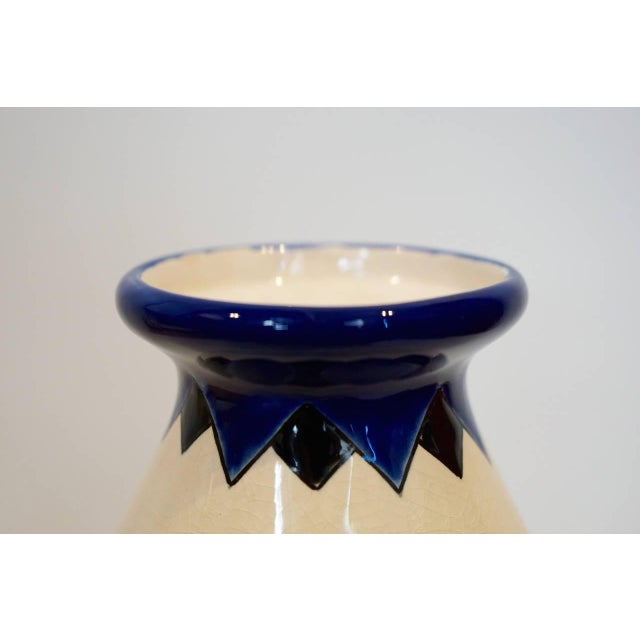 Charles Catteau Rare Cobalt and Cream Charles Catteau Vase For Sale - Image 4 of 8