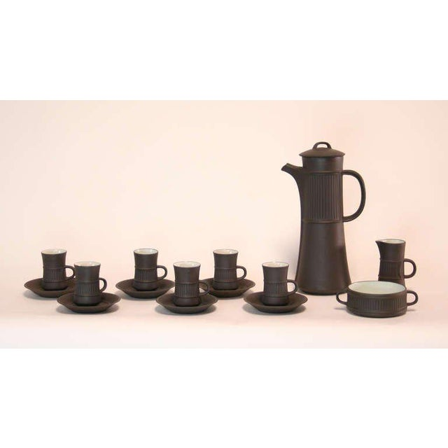 Great vintage coffee set by Jens Quistgaard for Dansk Designs, circa 1957. With Flamestone, or 'flameware', the outside of...