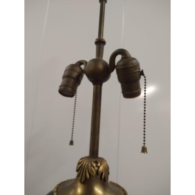 Victorian Antique Black Glass & Brass Table Lamp With Lamp Shade For Sale - Image 3 of 8