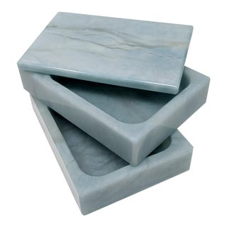 Light Blue Dual Layer Alabaster Swivel Top Box For Sale