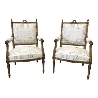 Mid-19th Century Louis XVI Style Arm Chairs - a Pair