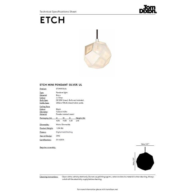 Metal Tom Dixon Etch Mini Pendant in Silver For Sale - Image 7 of 8