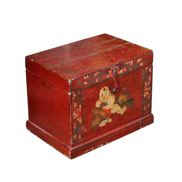 This is a handmade Chinese accent decorative box with distressed red color finish. The front is a graphic of oriental kids...