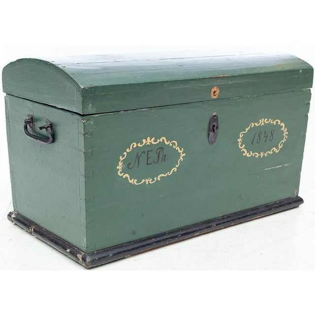 Metal 19th Century Swedish Hand Painted Wooden Wedding Trunk Chest For Sale - Image 7 of 7
