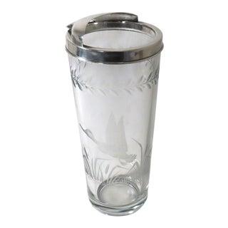 Vintage Art Deco Etch Cut Glass Silverplate Cocktail Mixer For Sale