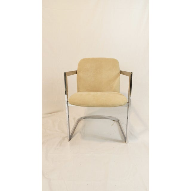 Vintage Chrome Armchair With Suede Upholstery - Image 3 of 5