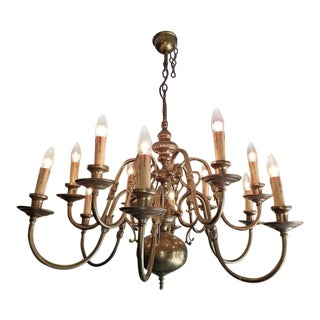 19th Century Dutch Baroque Brass 2 Tier 12 Branch Chandelier For Sale
