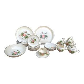 Ballerina Moss Rose Dinnerware Set - 37 Pieces For Sale