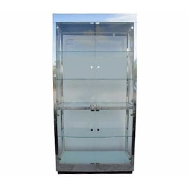 Pace Style Aluminum and Glass and Lucite Vitrine