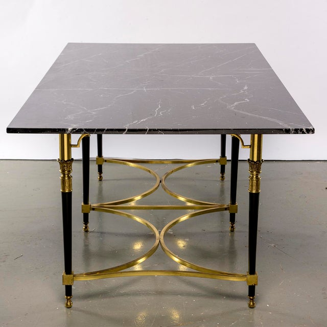 Gold Italian Directoire Style Table With Black Marble Top and Brass Base For Sale - Image 8 of 13