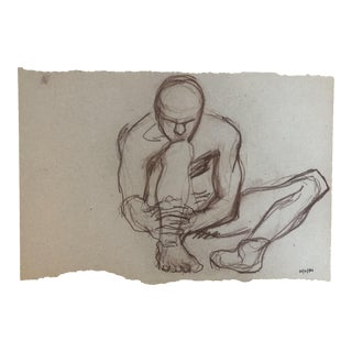 Seated Male Nude Studio Drawing, 1984 For Sale