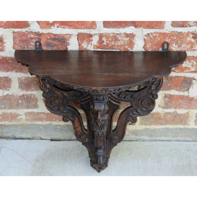 Late 19th Century Antique French Oak 19th Century Large Gothic Figural Hand Carved Wall Shelf Corbel Bracket For Sale - Image 5 of 13