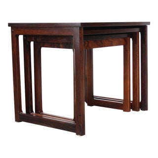 Trio of Danish Rosewood Nesting Tables For Sale