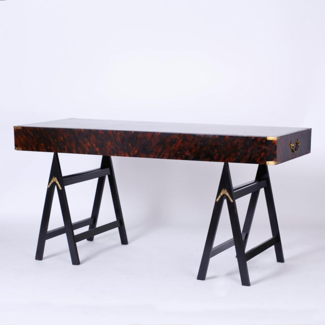 19th Century English Campaign Style Desk with a Faux Tortoise Shell Finish For Sale - Image 10 of 11