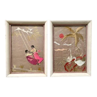 1940's Asian Embroidered Textile Art - Girls and Swans - a Pair For Sale