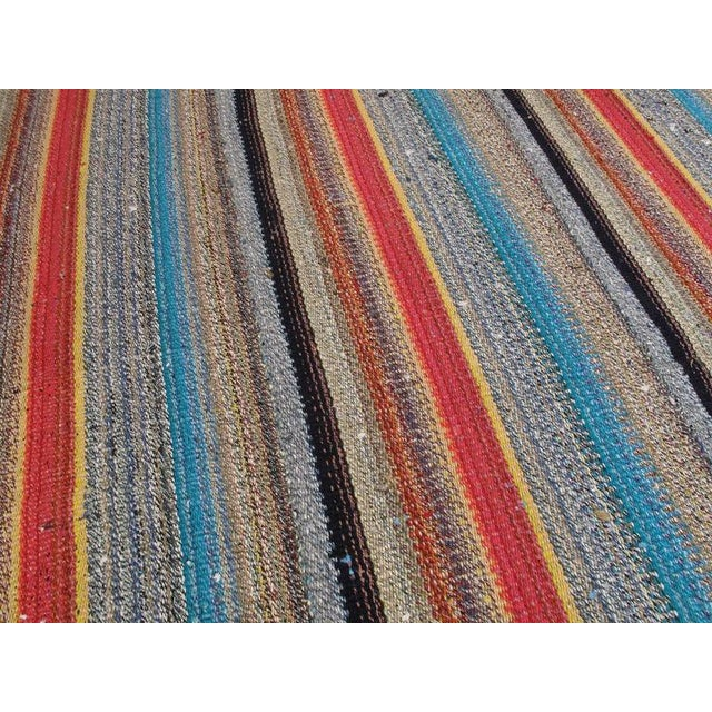 1980s Large Kilim with Colorful Stripes For Sale - Image 5 of 8