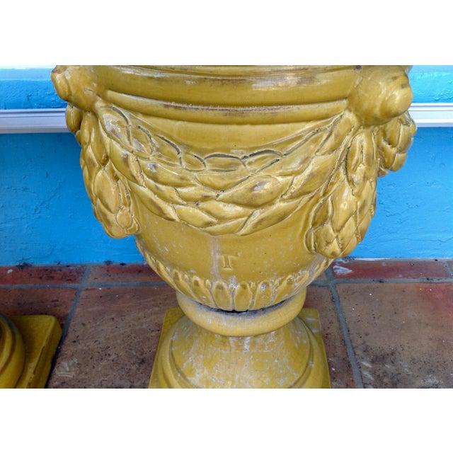 Pair of Massive Glazed Terracotta Garden Urns For Sale - Image 9 of 13