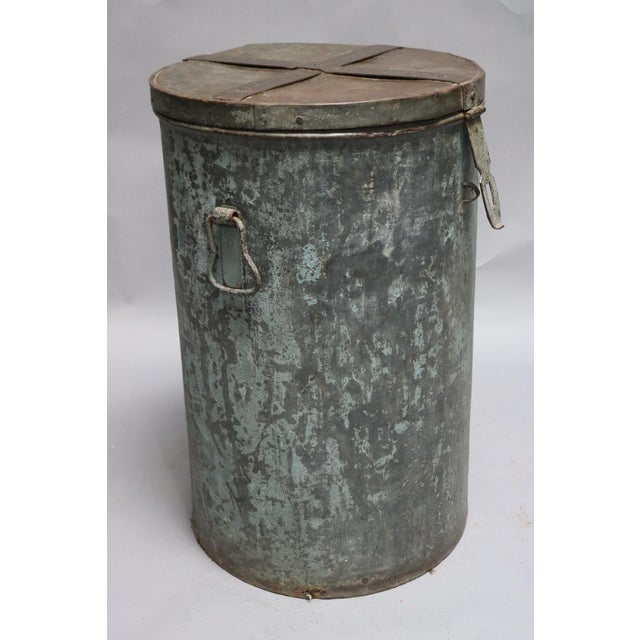 Asian 1920s Rustic Metal Container For Sale - Image 3 of 7