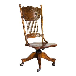 1980s Americana Texas Vernacular Wooden Banker's Chair