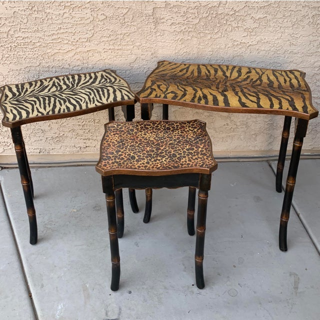 Safari Style Faux Bamboo Resin Nesting Tables - Set of 3 For Sale - Image 4 of 12