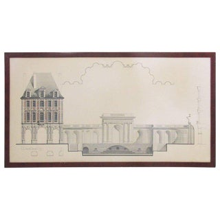 Original Architecture Sketches Drawing Study for Place Des Vosges in Paris For Sale