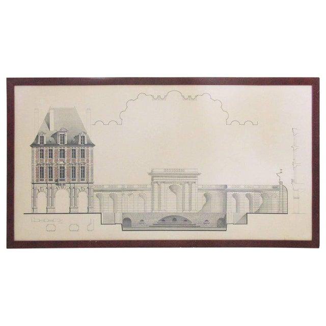 Original Architecture Sketches Drawing Study for Place Des Vosges in Paris For Sale