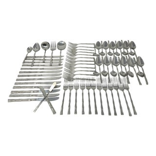 Vintage Bamboo Stainless Flatware Service for 12 Set of 68 Made in Korea For Sale