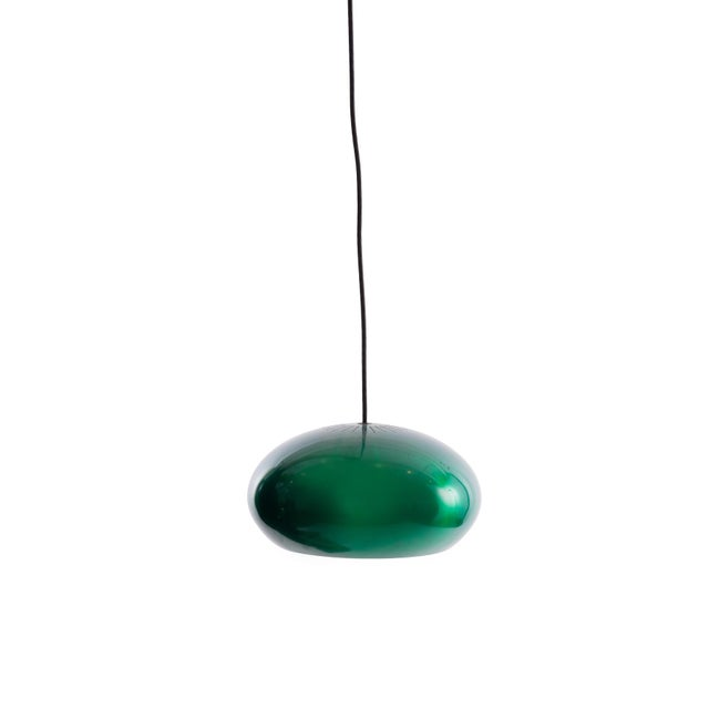 3 pendant lights by Jo Hammerborg for Fog & Mørup, circa mid-1960s. These examples are anodized aluminum and have been...