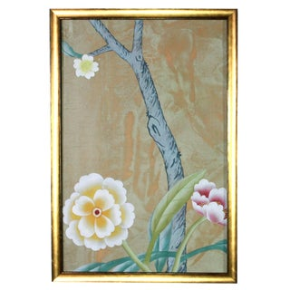 Chinoiserie Wallpaper Diptych Paintings on Patinated Metallic Copper Silk - 2 Pieces Preview