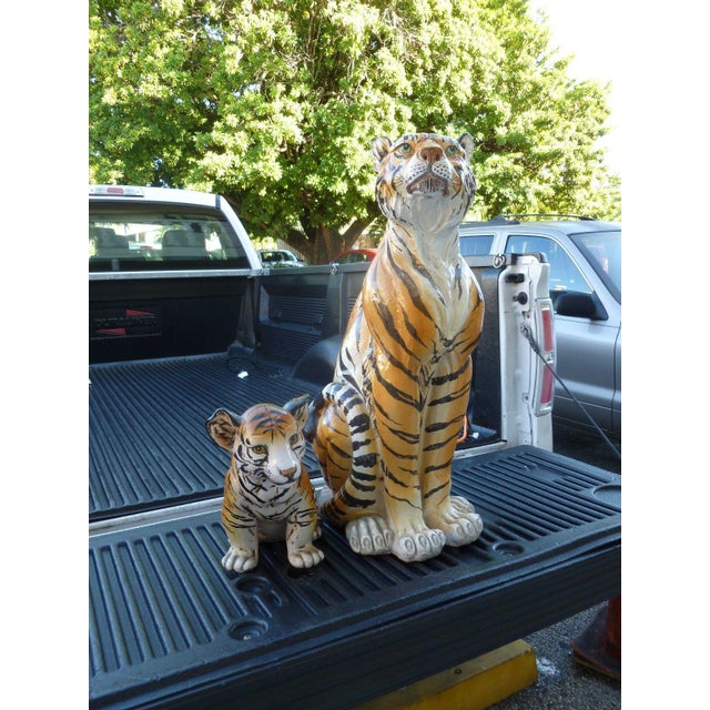 Pair of Large Mid-Century Italian Glazed Terracotta Tigers, Mother and Her Cub For Sale - Image 13 of 13