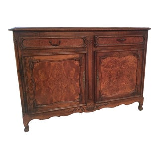 French Louis XV Style Carved Oak and Walnut Sideboard For Sale