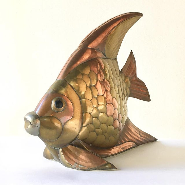 Sergio Bustamante Brass and Copper Angel Fish Table Sculpture Mexico 1970s