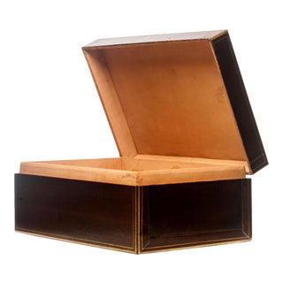 Lawrence & Scott Regalia Leather Box in Mahogany With Brass Stand as Side Table For Sale