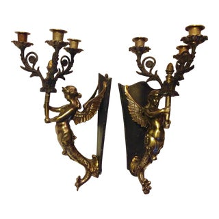 1890s Solid Brass/Bronze French Mermaid Candelabrums - a Pair For Sale