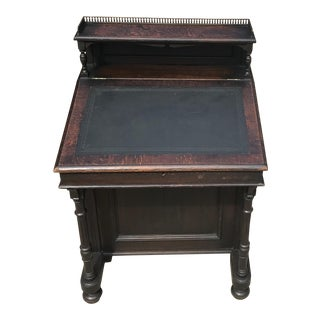 19th Century William IV Oak & Leather Davenport Antique Desk For Sale