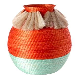 Fanned Out Large Bulbous Vase Tangerine/mint & Neutral Fans For Sale